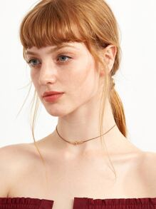 Brown Geometric Delicate Choker Necklace