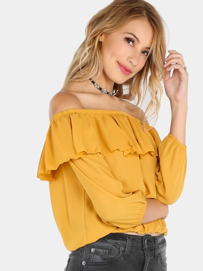 Off The Shoulder Sleeved Ruffle Top MUSTARD