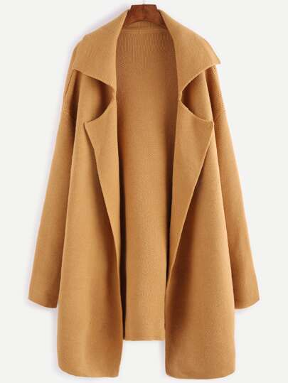 Mustard Notch Collar Open Front Sweater Coat