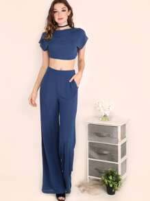 Navy Crop Top With Wide Leg Pants