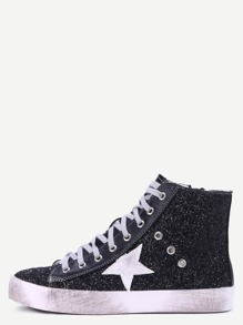 Zapatillas hi-top con lentejuelas parche estrella - negro