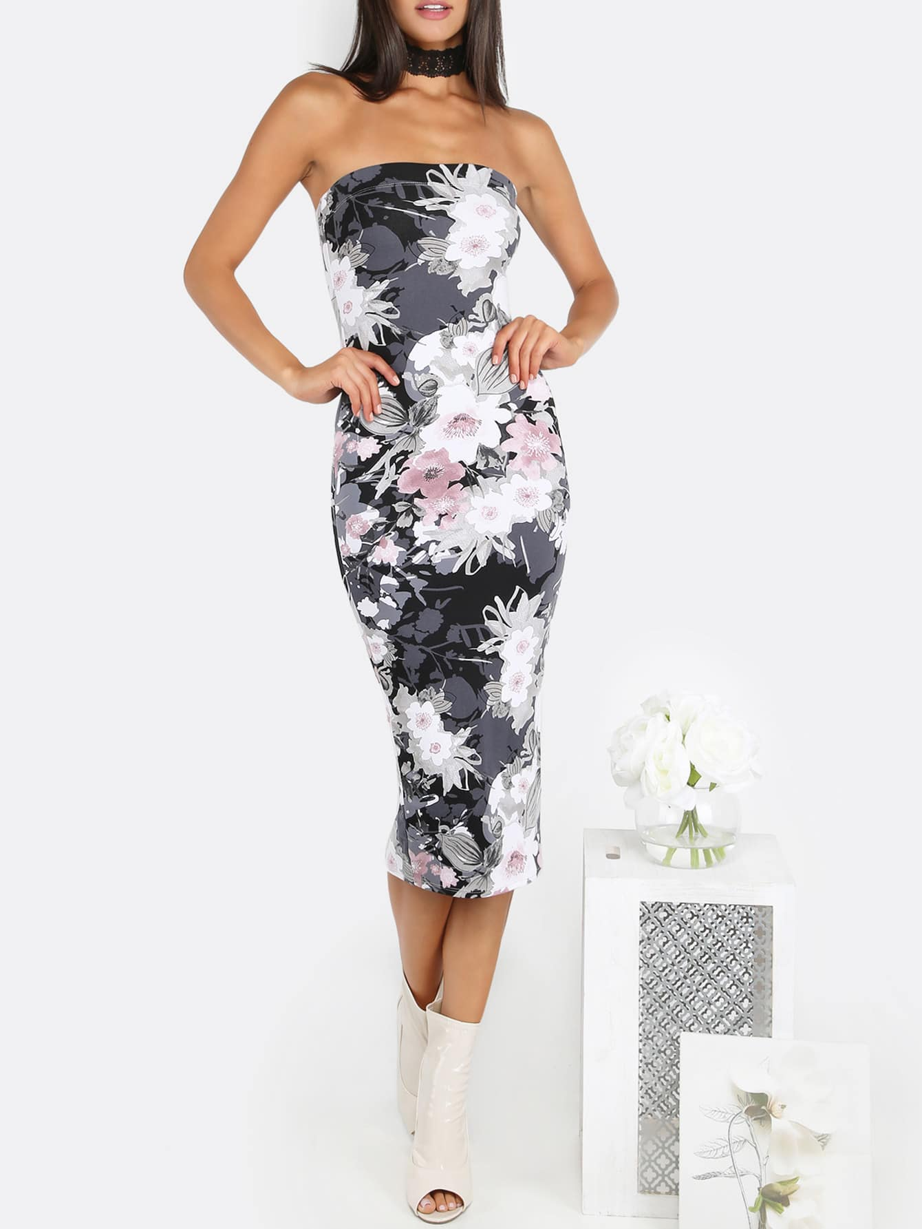 Floral Tube Top Midi Dress BLACKFloral Tube Top Midi Dress BLACK<br><br>color: Black<br>size: L,M,S,XS