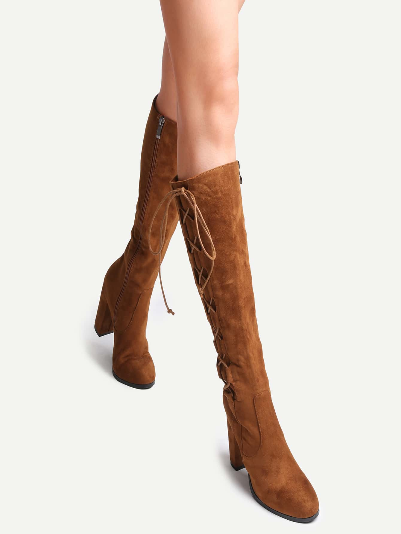 цены Camel Faux Suede Lace Up Side High Heel Boots