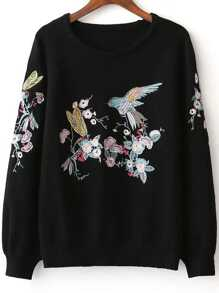 Bird Embroidery Raglan Sleeve Sweater