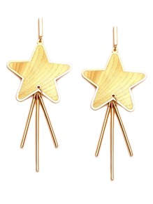 Gold Plated Star Straight Bar Drop Earrings
