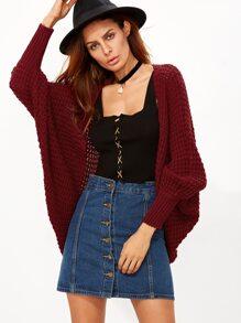 Veste cocon tricoté ouvert - bordeaux