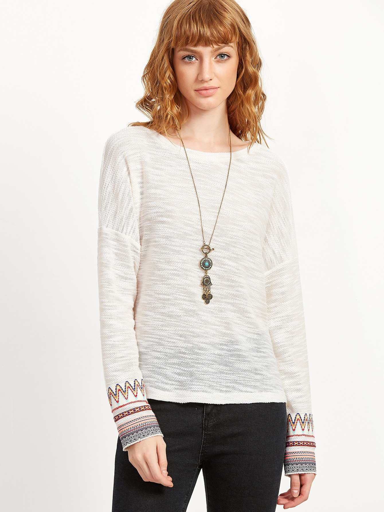 White Drop Shoulder Tribal Pattern Cuff Slub SweaterWhite Drop Shoulder Tribal Pattern Cuff Slub Sweater<br><br>color: White<br>size: L,M,S,XS