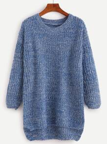 Blue Drop Shoulder High Low Sweater