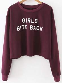 Sweat-shirt imprimé lettres - bordeaux