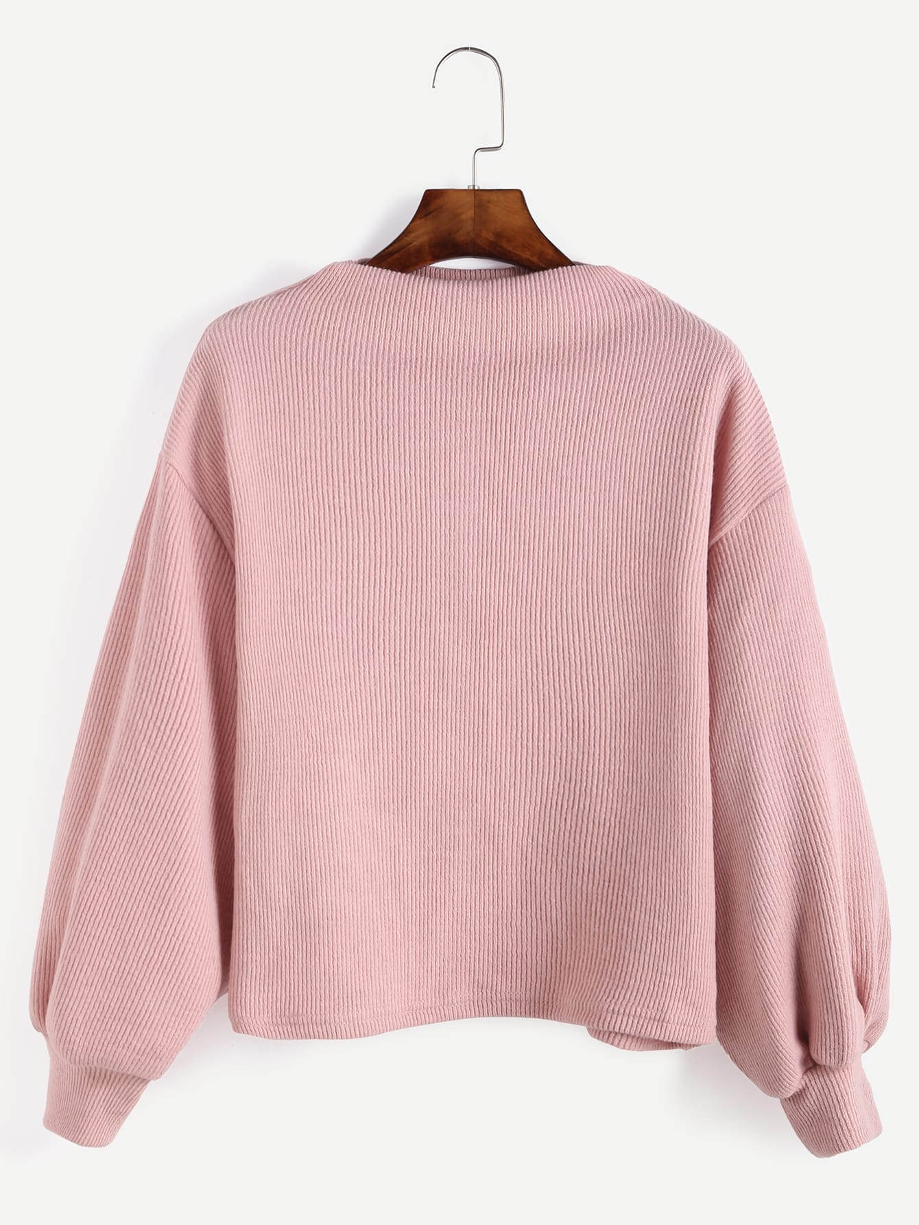 Pink Ribbed Lantern Sleeve Sweater sweater160929006
