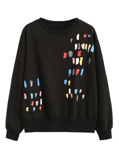 Black Paint Splatter Print Sweatshirt