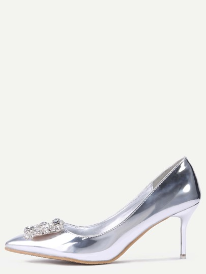 Silver Patent Leather Point Toe Jewelled Pumps