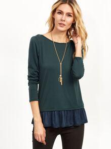 Dark Green Contrast Lace Up Back Ruffle T-shirt