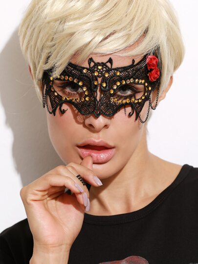 Black Rhinestone Rose Lace Mask