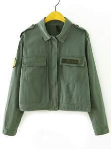 Army Green Hidden Button Patch Jacket