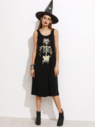Black Skull Print Sleeveless Dress