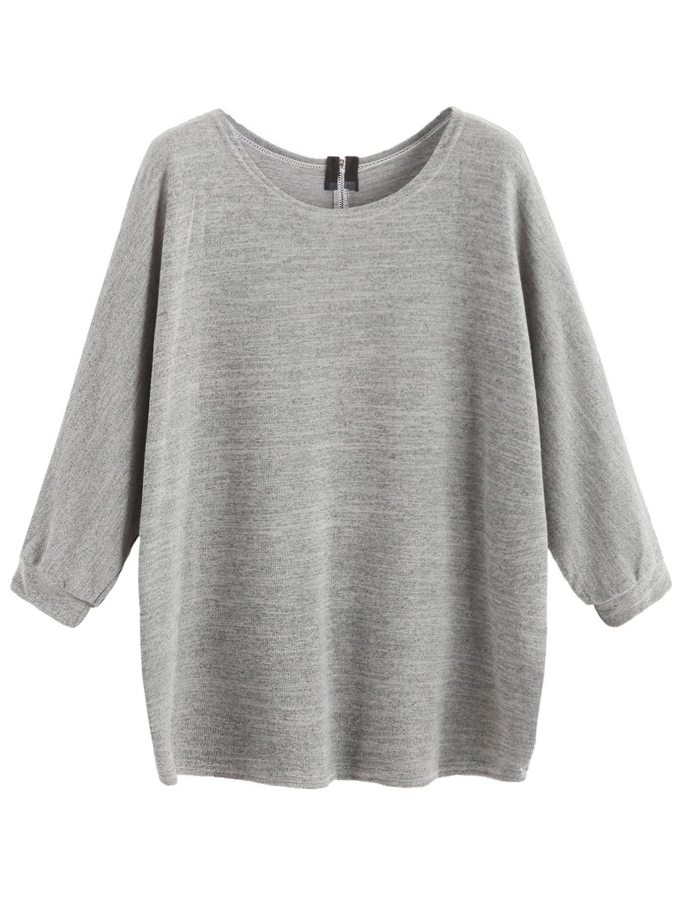 Grey Zipper Back T-shirt tee160906104