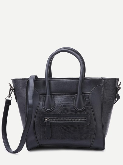 Black Embossed PU Front Zipper Tote Bag With Strap