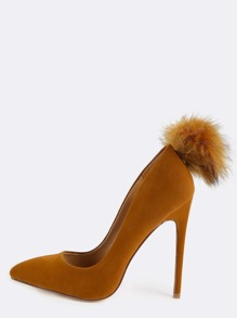 Pointy Toe Pom Pom Pumps TAN
