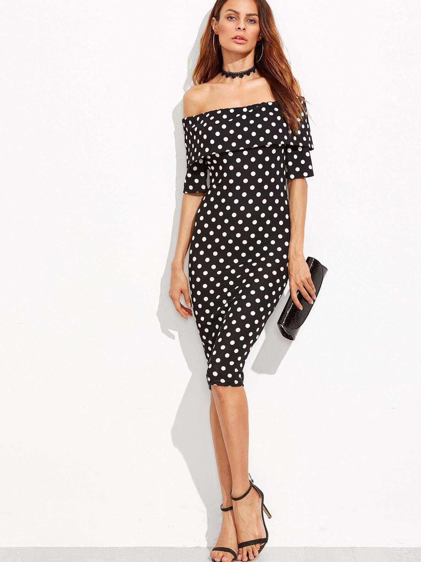 Black Polka Dot Print Foldover Off The Shoulder DressBlack Polka Dot Print Foldover Off The Shoulder Dress<br><br>color: Black and White<br>size: L,M,S,XS