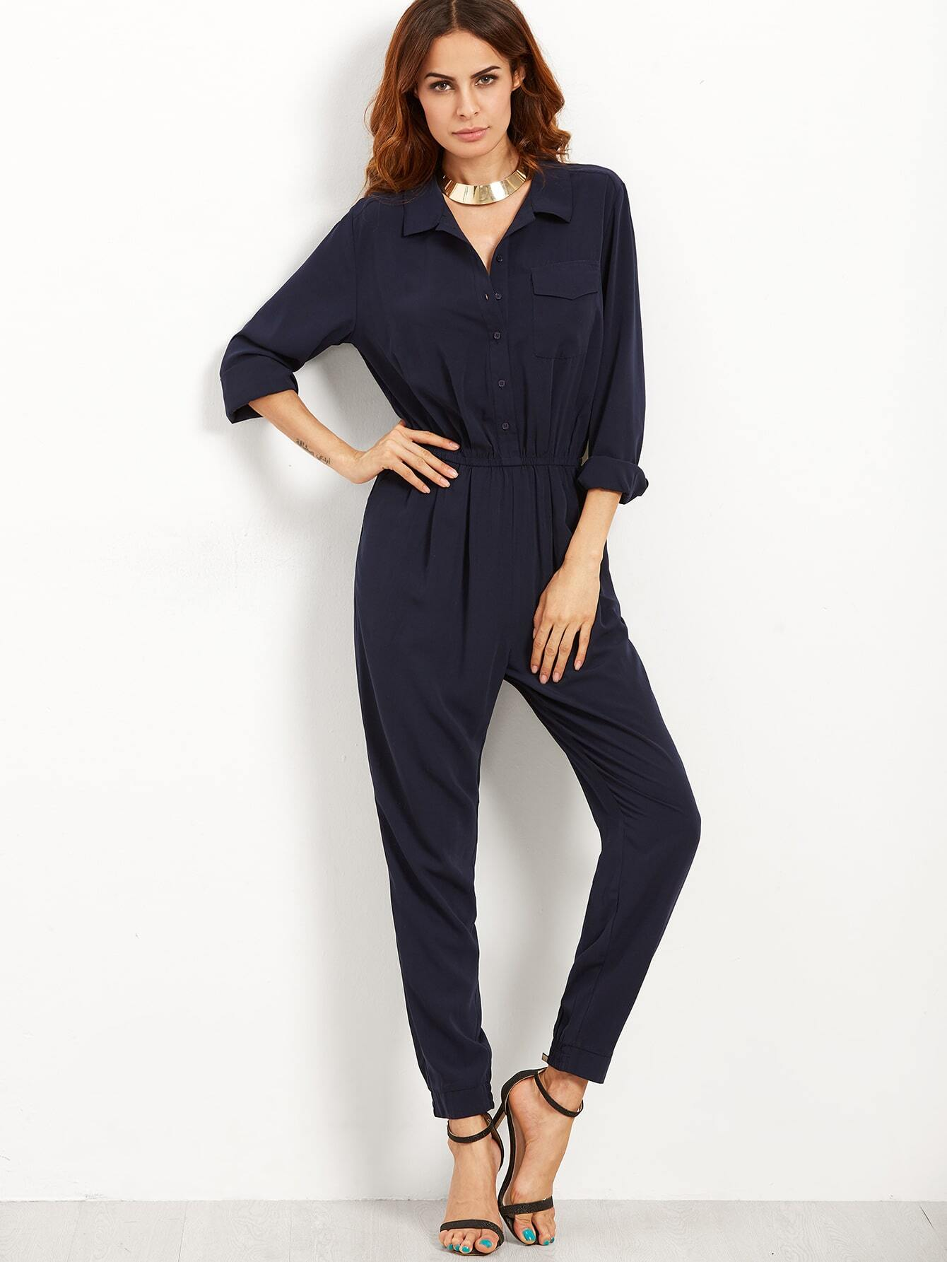 combi pantalon taille lastique avec boutons bleu marine french shein sheinside. Black Bedroom Furniture Sets. Home Design Ideas