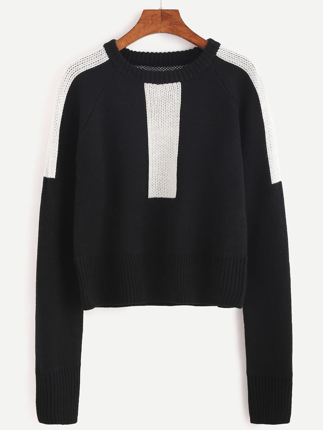 Black Color Block Raglan Sleeve Sweater sweater160920454