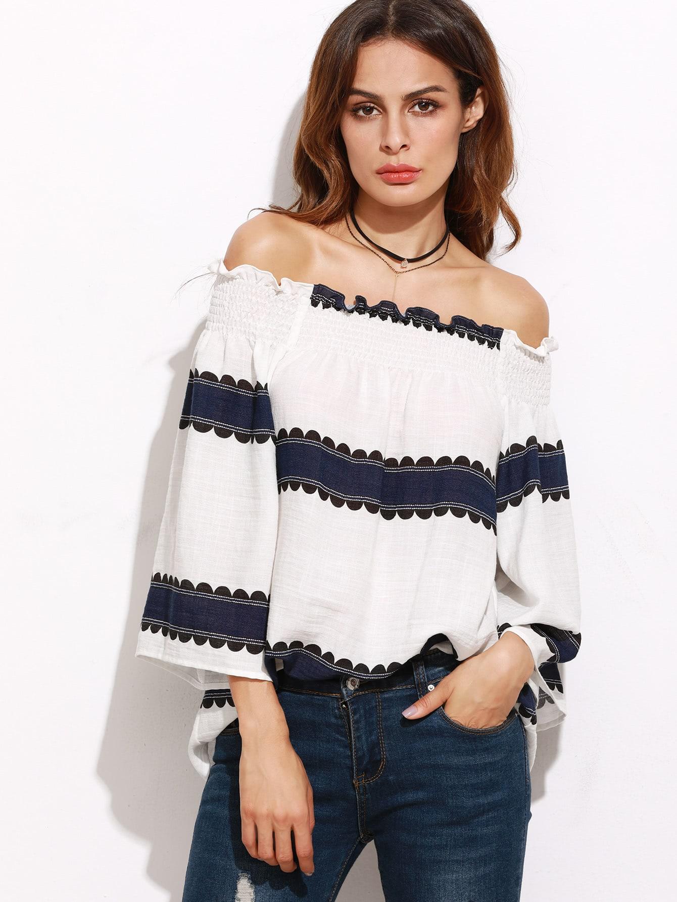 Фото White Contrast Panel Smocked Bardot Top. Купить с доставкой