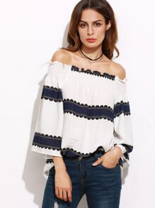 White Contrast Panel Smocked Off The Shoulder Top