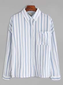 Vertical Striped Drop Shoulder Pocket Shirt