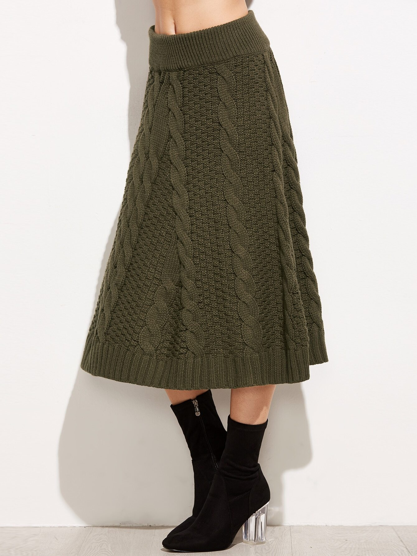army green cable knit a line skirt shein sheinside