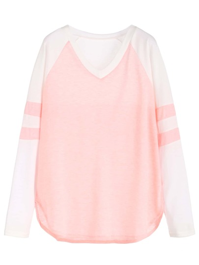 Color Block V Neck Raglan Sleeve T-shirt