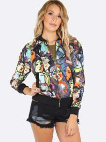 Multicolor Abstract Portrait Painting Print Bomber Jacket