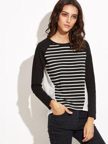 gestreifte T-shirt Raglanärmel -schwarz und weiß
