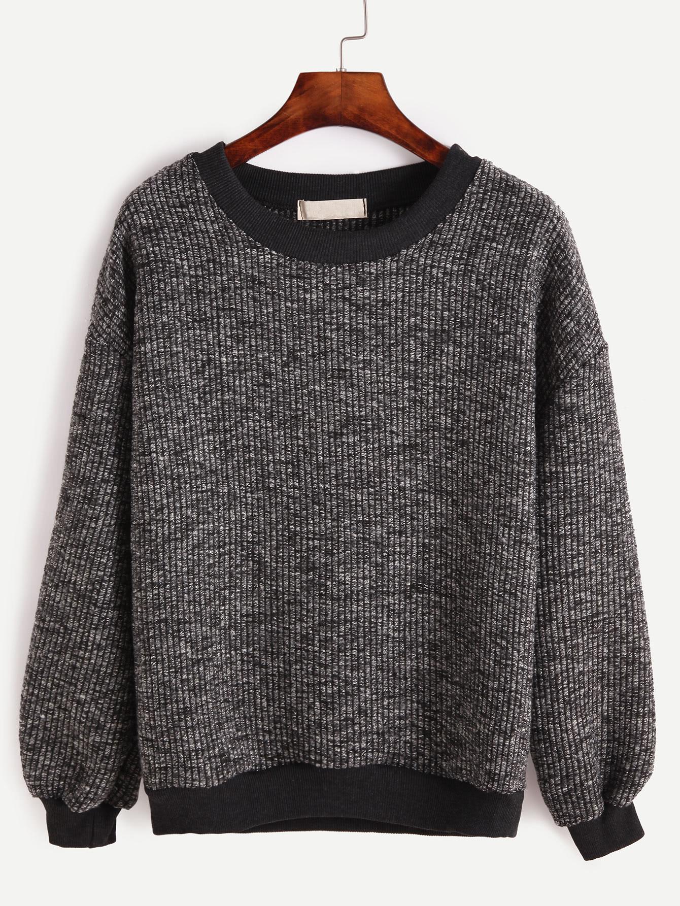 Contrast Trim Ribbed Slub Sweatshirt sweatshirt160921102