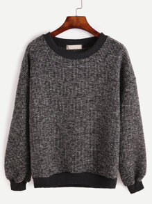 Contrast Trim Ribbed Sweatshirt