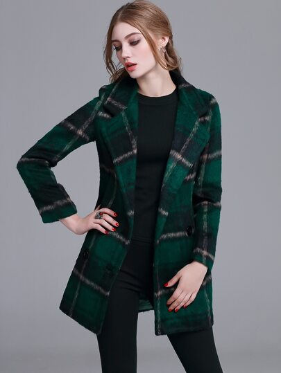 Dark Green Plaid Notch Lapel Double Button Coat
