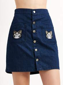 Blue Cat Embroidery Button Denim Skirt