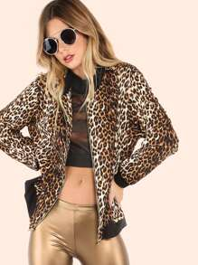 Lightweight Bomber Cheetah Print Jacket GOLD BLACK