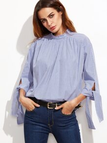 Blue Vertical Striped Tie Sleeve Buttoned Back Blouse