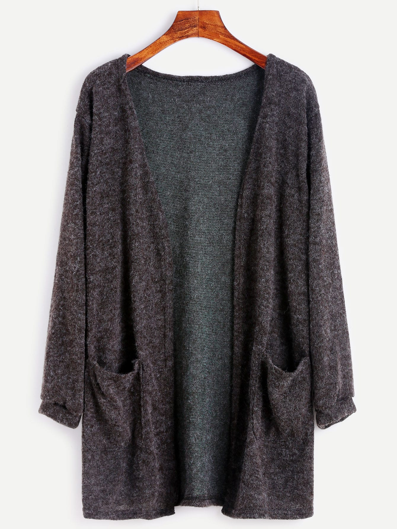 Dark Grey Fuzzy Cardigan -SheIn(Sheinside)