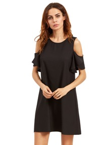 Black Cold Shoulder Ruffle Sleeves Shift Dress