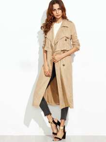 Camel Suede Multiway Trench Coat With Gun Flaps