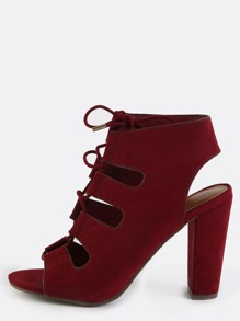 Open Toe Strappy Chunky Heels BURGUNDY