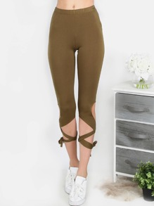 Lace Up Capri Leggings OLIVE