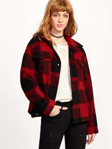 Black And Red Plaid Dual Flap Pocket Front Jacket