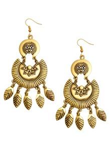 Antique Gold Carved Fringe Drop Earrings