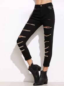 Black Chain Embellished Ripped Pants