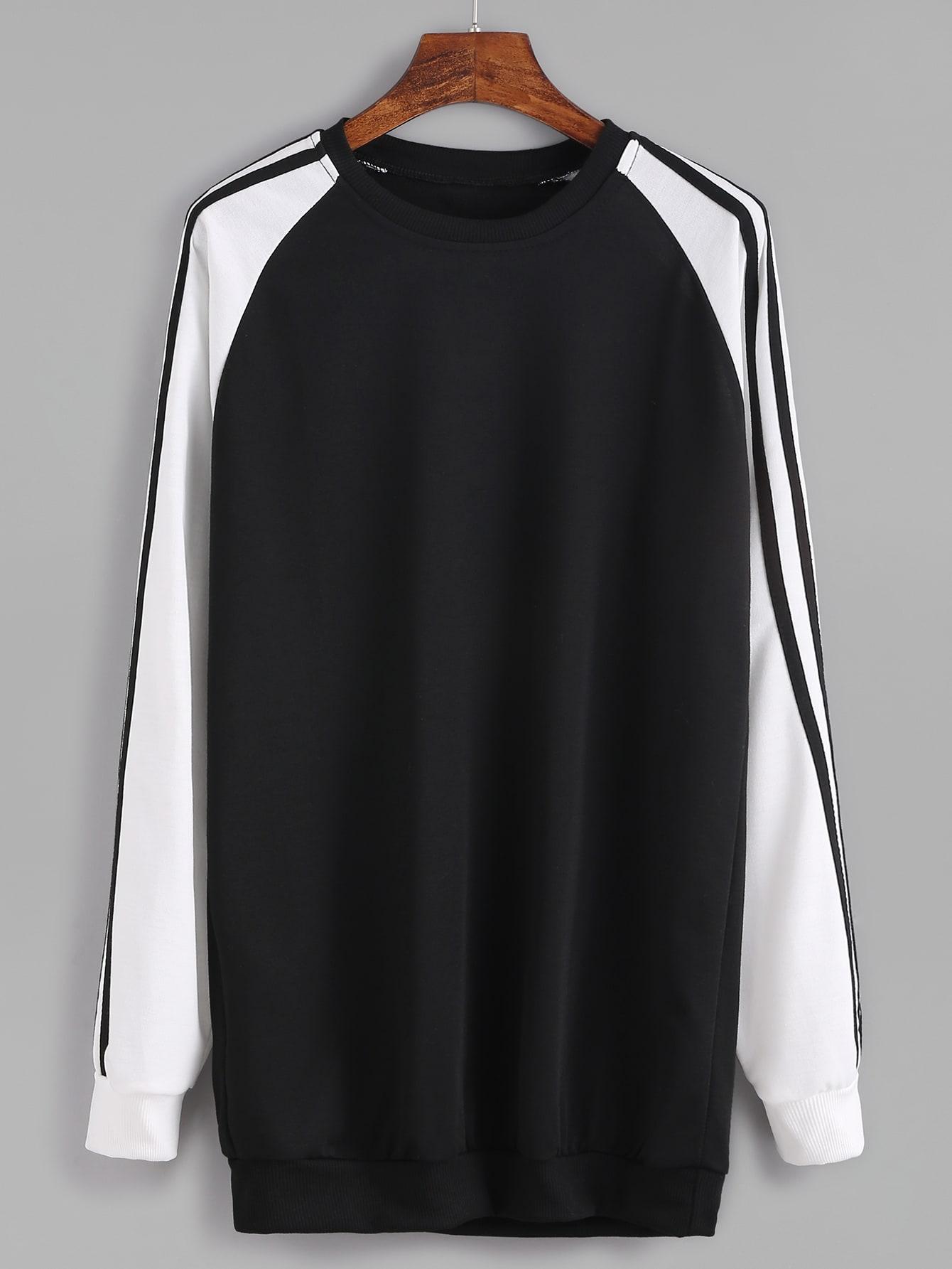 Contrast Raglan Sleeve Striped Trim Sweatshirt sweatshirt161003103