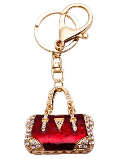 Porte-clés forme en sac à main avec stras - doré