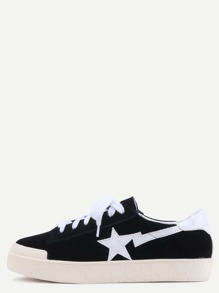 Black Suede Leather Star Patch Lace Up Low Top Sneakers